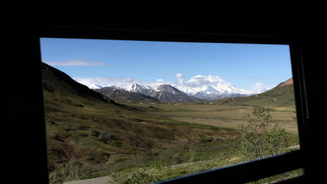 scenic view outside the window of tour bus at the denali national park, alaska - denali national park stock videos & royalty-free footage