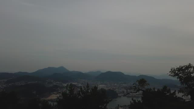 scenic view over onomichi, evening, hiroshima - onomichi hiroshima stock videos and b-roll footage