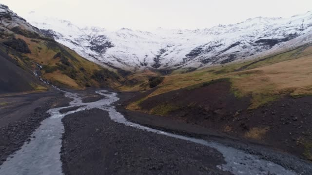 ws scenic view snow covered mountains and valley landscape,iceland - iceland stock videos & royalty-free footage