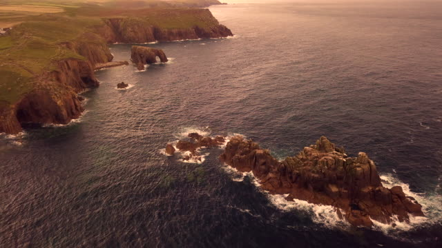 scenic views in cornwall coastline landscapes - lands end cornwall stock videos and b-roll footage