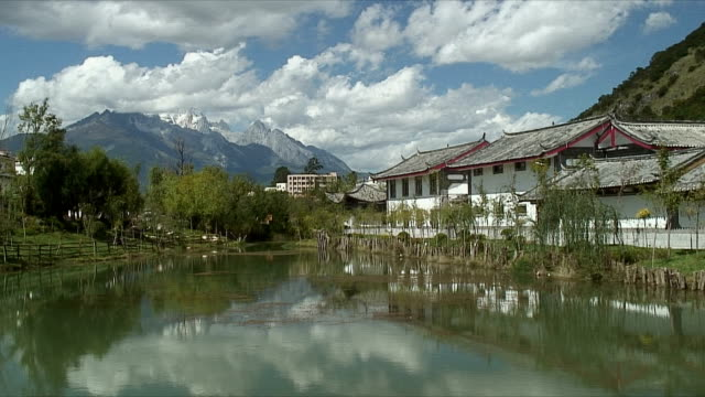 WS Scenic village with pond and mountains, Lijiang, China