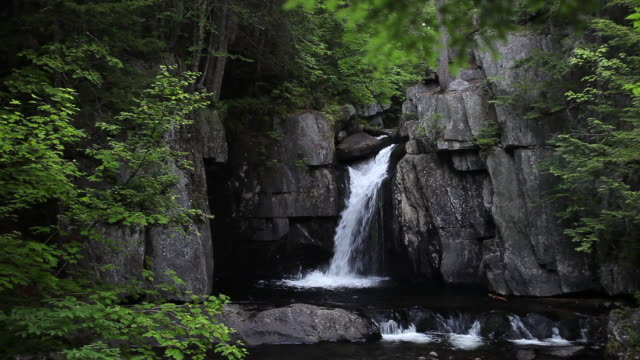 scenic waterfall in maine, pan left - maine stock videos & royalty-free footage