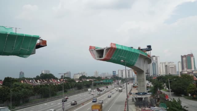 Scenics of areas under construction in Kuala Lumpur Malaysia on September 29 2015 Shots several similar wide shots of monorail under construction...