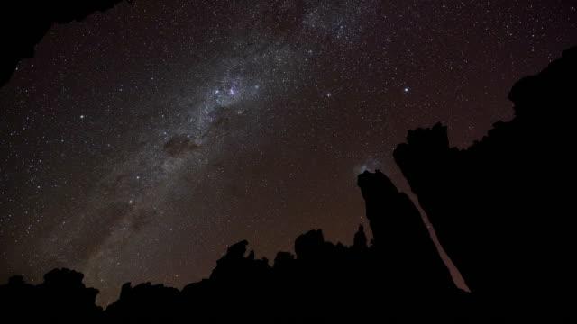 vídeos y material grabado en eventos de stock de t/l scenics of sandstone rock formations and a starry night sky in truitjieskraal nature reserve, cederberg, south africa - the nature conservancy