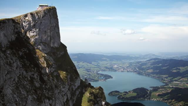 T/L WS Schafberg summit (Northern Limestone Alps ) and lake Wolfgangsee, Sankt Wolfgang, Salzburg, Austria