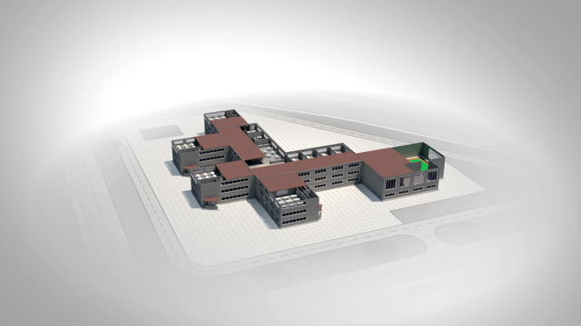 Schematic cross section of school in 3d