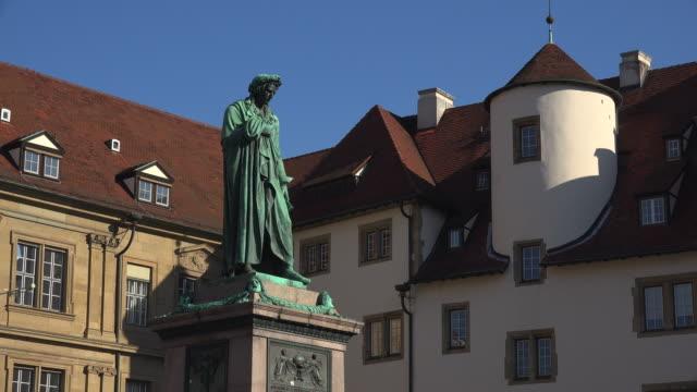 schiller monument and altes schloss at schillerplatz, stuttgart, baden-württemberg, germany - german culture stock videos & royalty-free footage