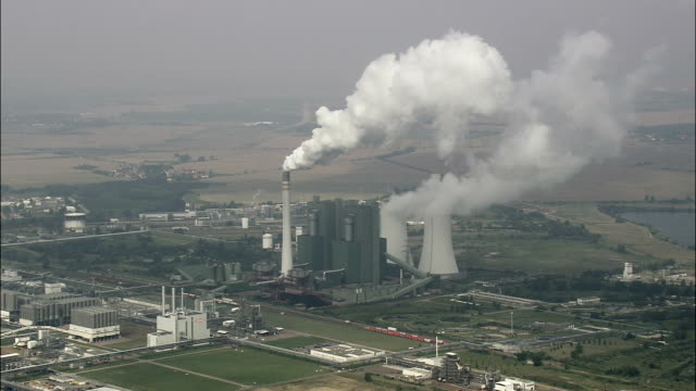 Schkopau Power Station  - Aerial View - Saxony-Anhalt,  helicopter filming,  aerial video,  cineflex,  establishing shot,  Germany