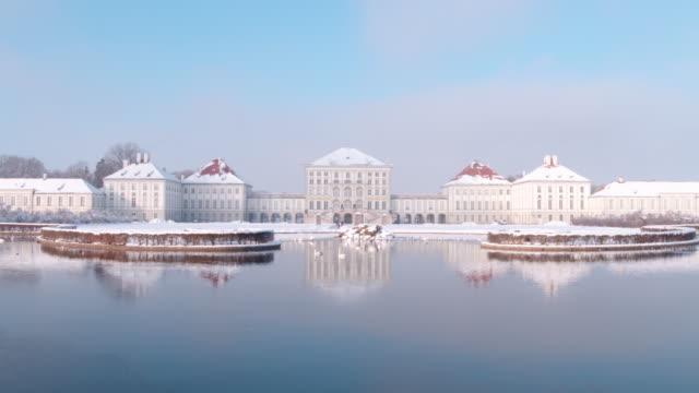 schloss nymphenburg, munich, winter - romantic sky stock videos & royalty-free footage
