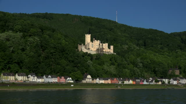 schloss stolzenfels near koblenz, rhine valley, rhineland-palatinate, rheinland-pfalz germany, deutschland - deutschland stock videos & royalty-free footage
