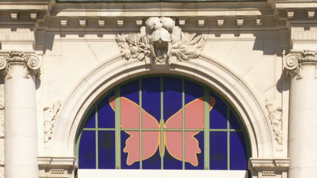 vídeos de stock e filmes b-roll de cu tilt up schmetterlinghaus (butterfly house) in the palmenhaus (palm house) in the vienna burggarten  - figura feminina