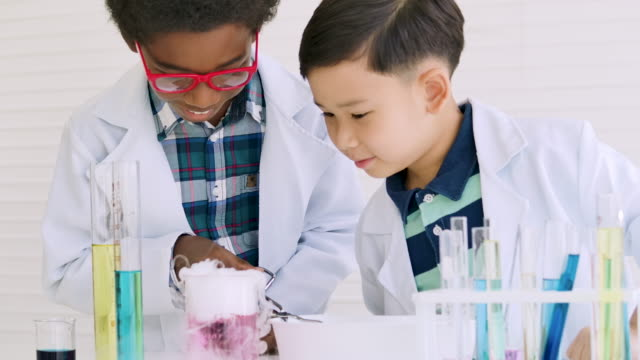 vídeos de stock e filmes b-roll de school biology experiment.two boys with test tube foreground conduct science experiments in classroom.education topics - encontrar