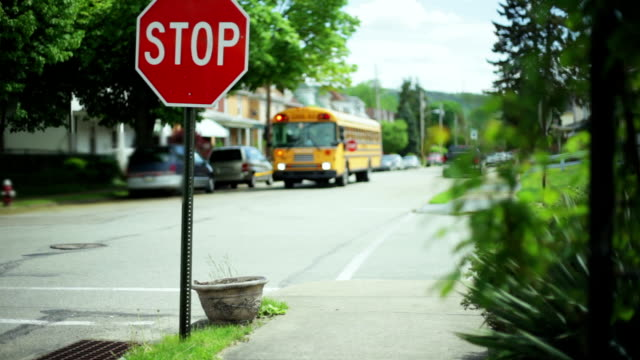 stockvideo's en b-roll-footage met school bus passes by a stop sign - bus