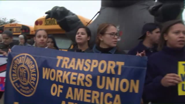 wpix a school bus strike made up of 300 drivers monitors and mechanics in four nassau county school districts that was canceled the week before was... - fackförbund bildbanksvideor och videomaterial från bakom kulisserna