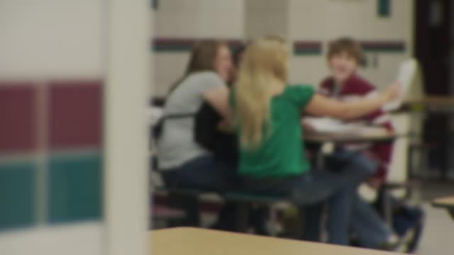 MS R/F School children (12-17) at cafeteria table, Cazenovia, New York, USA