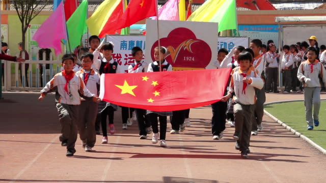 MS School Children attend opening ceremony of school sports meeting AUDIO / xi'an, shaanxi, china