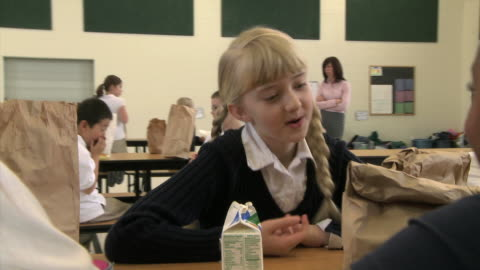 school children comparing lunches - see other clips from this shoot 1148 stock videos & royalty-free footage