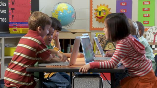 vidéos et rushes de ms, pan, school children (6-9) using laptops in classroom, richmond, virginia, usa - regarder à la dérobée