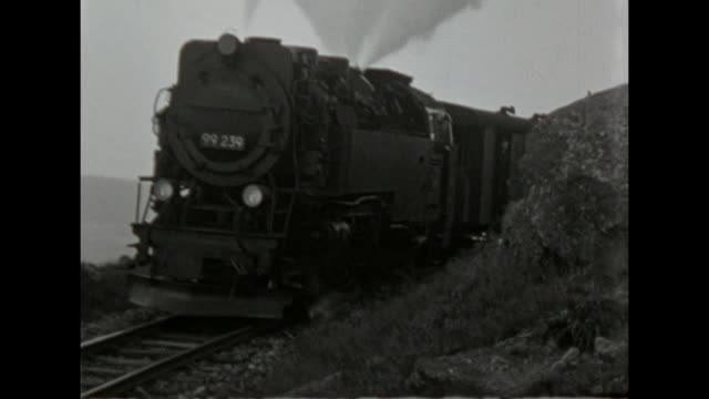 school class makes a trip on to the harz and visits the brocken with the brockenbahn / shot in 1957 - playing stock videos & royalty-free footage