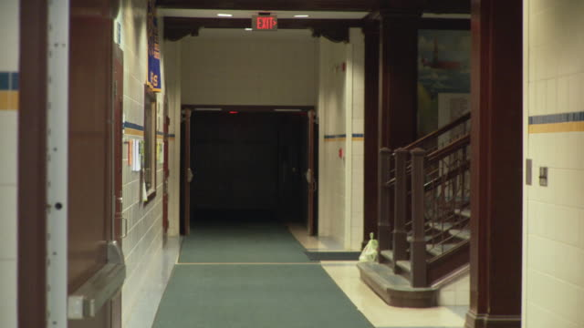 ws school corridor, cazenovia, new york, usa - school building stock videos & royalty-free footage