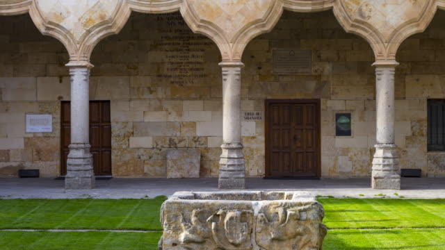 School Courtyard in University of Salamanca, Salamanca city, Salamanca province, Castilla y Leon, Spain, Europe