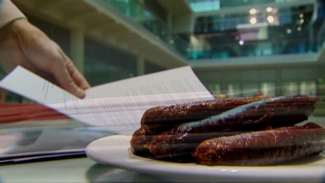 vídeos de stock, filmes e b-roll de school dinners / new government guidelines criticised sausages on plate and paperwork - carne vermelha