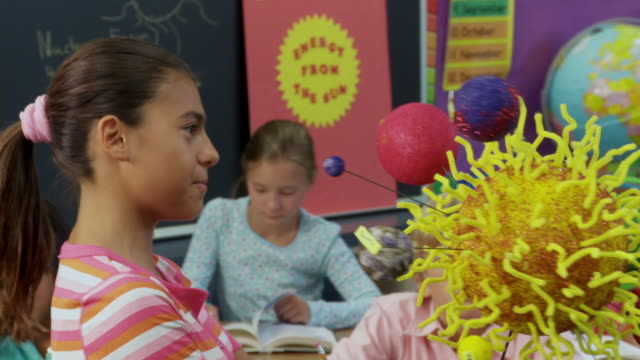 vidéos et rushes de ms, pan, school girl (10-11) talking and holding model of solar system in class, richmond, virginia, usa - astronomie