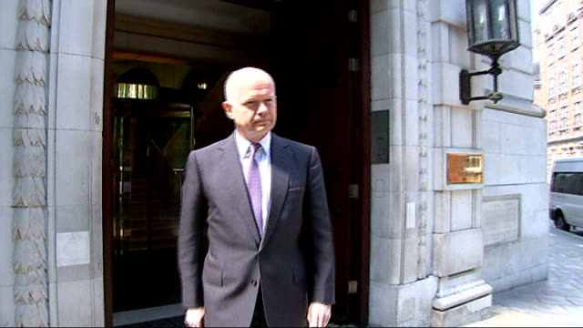 stockvideo's en b-roll-footage met school governor of birmingham school speaks on extremism allegations william hague mp towards from building william hague mp interview sot it is a... - william hague