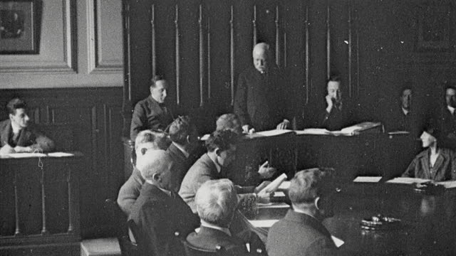 1925 ha school governors assembled at round table meeting and voting on a resolution by raised hands / newcastle upon tyne, england, united kingdom - 1925 stock videos & royalty-free footage