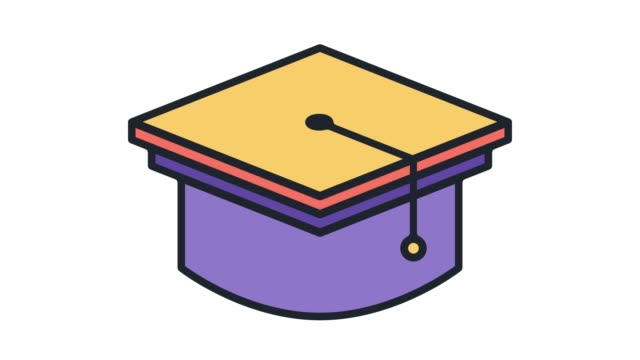 school graduation flat line icon animation with alpha - cap hat stock videos & royalty-free footage