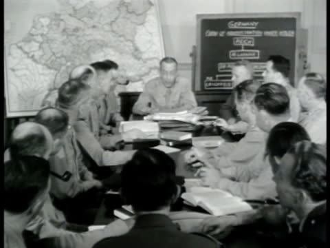 vídeos de stock, filmes e b-roll de school of military government strategy meeting unidentified officer sot saying job is not to govern german people but work w/ government to keep... - 1943