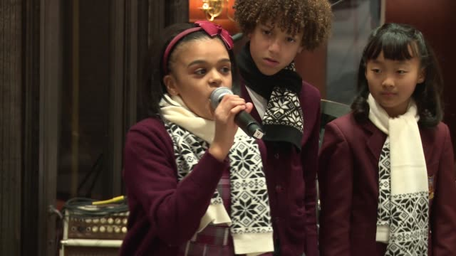 """performance – school of rock cast members perform """"if only you would listen """" at brooks brothers celebrates the holidays with st jude children's... - st. jude children's research hospital stock videos and b-roll footage"""