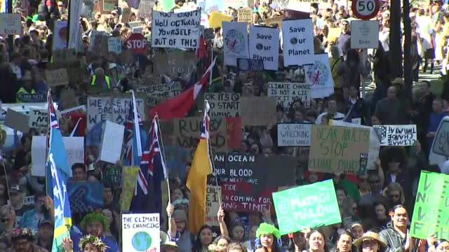 school strike for climate protest march in wellington - climate stock videos & royalty-free footage