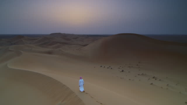 school student walks along sand dune on desert field trip, uae - bbc stock videos and b-roll footage