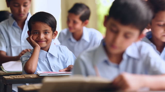 school students studying in the classroom, haryana, india - uniform stock videos & royalty-free footage
