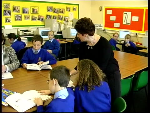 int school teachers speaking to pupils in primary school classroom pan ext park worker clipping hedge lib london stoke newington elderly man browsing... - audit stock videos and b-roll footage