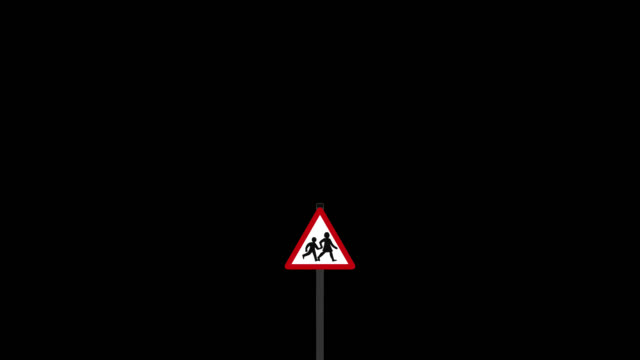 UK school warning road sign