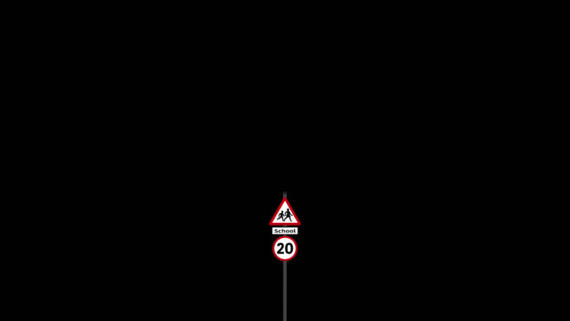 UK school warning road sign with speed limit sign