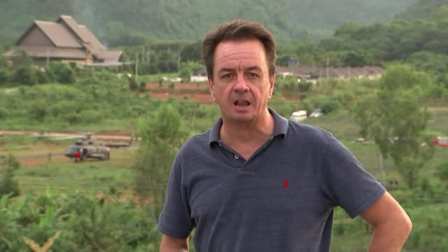 last boys and coach rescued safely thailand chiang rai ext reporter to camera sot - itv放送点の映像素材/bロール