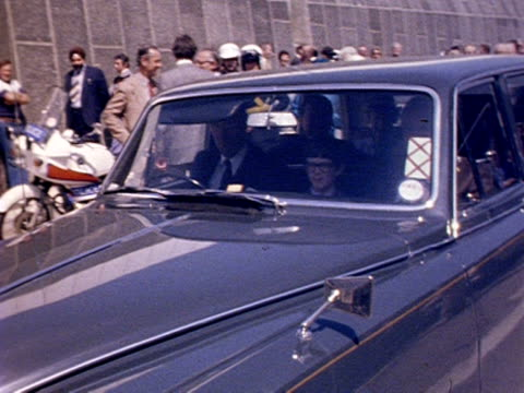 schoolboy glen martin arrives in an official car to open the new dartford tunnel. 16 may 1980. - m25 video stock e b–roll