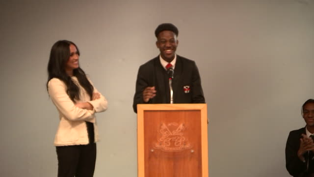 "schoolboy on stage with meghan duchess of sussex, at robert clack school of science in dagenham, says ""she really is beautiful"" - schoolboy stock videos & royalty-free footage"