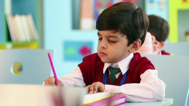 Schoolboy studying in the classroom, Delhi, India
