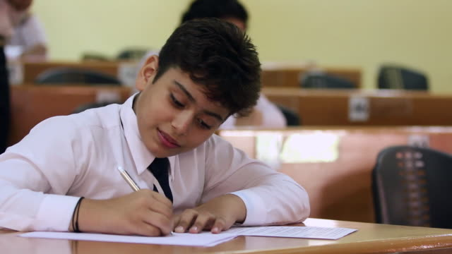 schoolboy studying in the classroom, noida, uttar pradesh, india - schoolboy stock videos and b-roll footage
