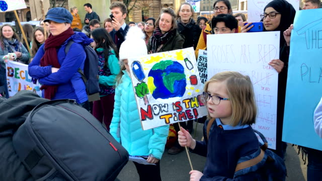 schoolchildren take part in a nation-wide student climate march in george square on february 15, 2019 in glasgow, united kingdom.thousands of uk... - climate stock videos & royalty-free footage