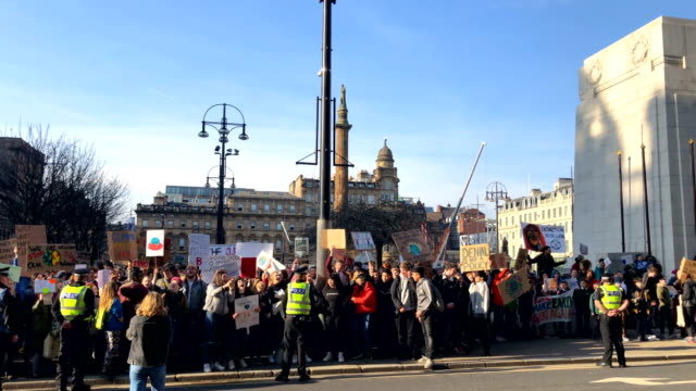 schoolchildren take part in a nationwide student climate march in george square on february 15 2019 in glasgow united kingdomthousands of uk pupils... - strike protest action stock videos and b-roll footage