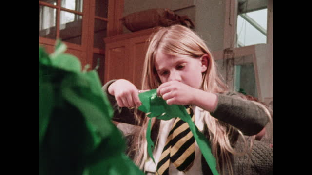 schoolchildren work on craft activities, 1970s - blonde hair stock videos & royalty-free footage