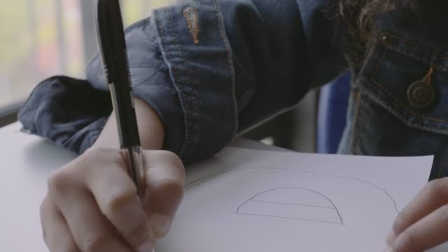 vidéos et rushes de schoolgirl drawing face on paper - art et artisanat