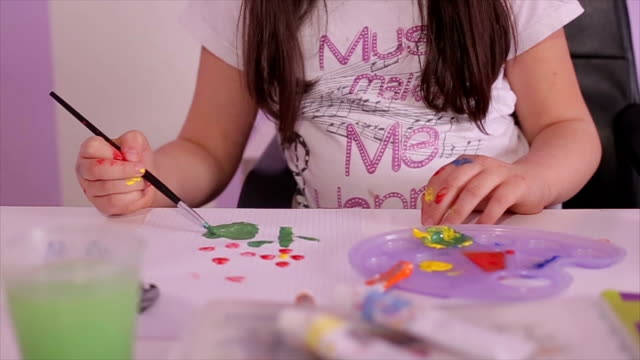 schoolgirl painting with watercolor - gouache stock videos & royalty-free footage