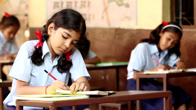 schoolgirl studying in classroom, haryana, india - elementary school stock videos & royalty-free footage