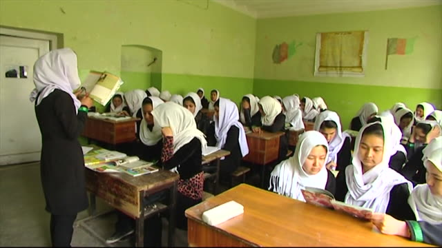 schoolgirls at school in kabul - schoolgirl stock videos & royalty-free footage